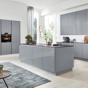 Küchenplaner, graue Küche, Hochglanz, modern